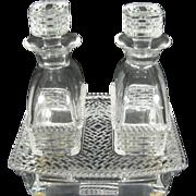 Vintage Lalique Oil And Vinegar Crystal Glass Set