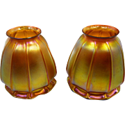 Antique Pair Of Signed Quezal Iridescent Fluted Shades Mint Condition