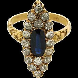 Antique Art Nouveau Marquise Shape Diamond Sapphire 18k Yellow Gold Ring