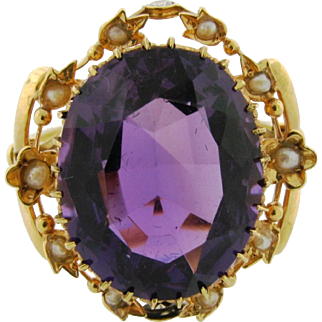 Antique 18k Yellow Gold Amethyst Seed Pearl Diamond Floral Ring