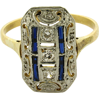 Original Art Deco Sapphires 5 Diamonds 18k Yellow Gold Ring