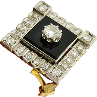 Original Art Deco Diamonds Onyx Platinum 18k Yellow Gold Ring