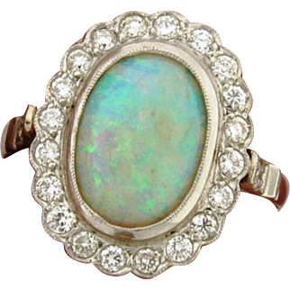 Vintage Opal Diamond Platinum Ring