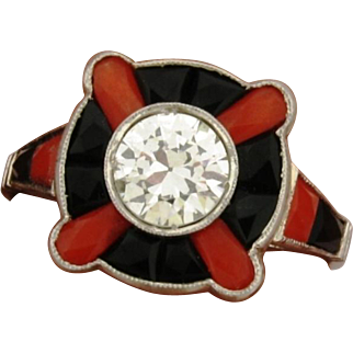 Vintage Platinum Coral Onyx 1 Carat Diamond Ring