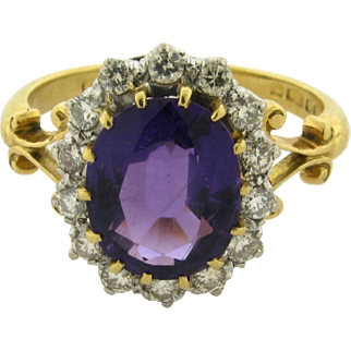 Vintage English Hallmarked Amethyst Diamond 18k Yellow Gold Ring