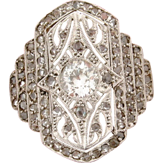 Vintage Filagree .75 C Center Diamond Filagree Platinum 18k Gold Ring