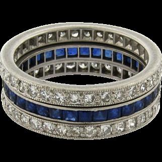 Set Of Three Vintage Platinum Diamond Sapphire Wedding Band Rings