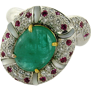 Vintage 3 Carat Emerald Diamond Ruby Mother Of Pearl Platinum Designer Ring