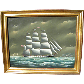 """Vintage Ship Oil Painting Listed Mass. Artist """"Christofer Guise"""" Gallery Label"""