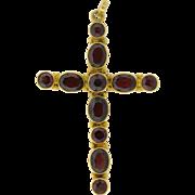 "Large Antique Garnet 14k Yellow Gold Cross 2 1/4"""