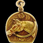 Antique Art Nouveau Horse Floral 18k Yellow Gold Pendant