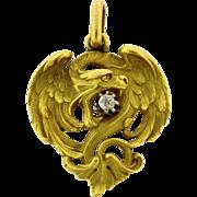 Stunning French 18k Yellow Gold  Diamond Art Nouveau Griffin Pendant
