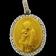 Antique Religious French Madonna Child Artist Signed Diamond 18k Gold Pendant