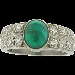 Original Art Deco Cabochon Emerald Diamond Platinum Ring