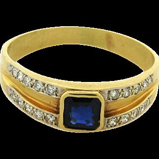 Vintage .60 Carat Sapphire 14k Yellow Gold Diamond Ring