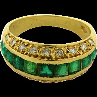 Retro Vintage Emerald Diamond 18k Yellow Gold Ring