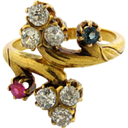 Antique Art Nouveau Diamonds Sapphire Ruby 18K Yellow Gold Ring