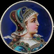Antique Victorian Enamel Sterling Silver Womans Portrait Brooch