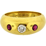 Vintage Cartier Ruby Diamond 18k Yellow Gold Gypsy Ring