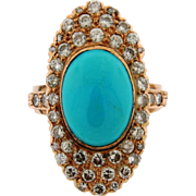 Vintage Turquoise 46 Diamond 14k Rose Gold Ring