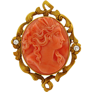 Antique Art Nouveau Carved Coral Cameo Diamond 14k Gold Brooch Pendant