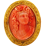 Antique Art Nouveau Carved Coral Cameo Of Bacchus 14k Gold Brooch