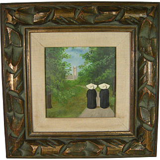 Frank Whipple Signed Oil Painting Of Two Nuns