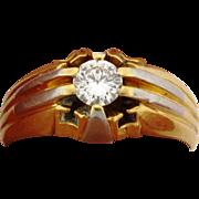 Art Deco 18k Multi Color 18k Gold .50 Carat Diamond Mens Ring