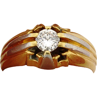 Art Deco 18k Multi Color 18k Gold .50 Carat Diamond Mens Ring
