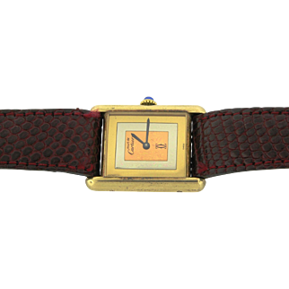 Rare Vintage Cartier Tank Tri Color Gold Plated Sterling Must De Cartier Watch