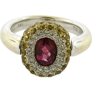 Designer Pink Tourmaline Yellow Sapphire Diamond 18k White Gold Ring