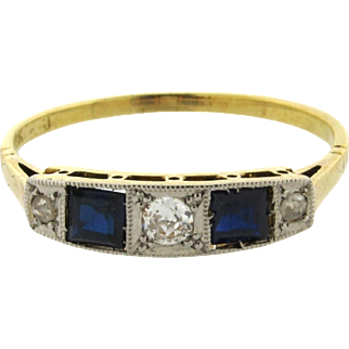 Original Art Deco 5 Stone Diamonds Sapphires 18K Yellow Gold Ring