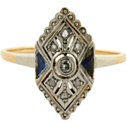 Original Art Deco .50 C Diamond Sapphires 18K Yellow Gold Ring