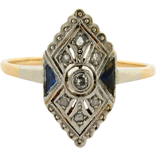 Original Art Deco .50 C Diamond Sapphires 18K Yellow Gold Ring