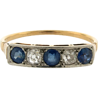 Original Art Deco 5 Stone Sapphires Diamonds Platinum 18K Yellow Gold Ring
