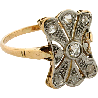 Original Art Deco Platinum Diamond 18K Yellow Gold Ring