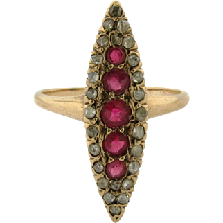Original Art Deco Marquise Shape Diamond Ruby 18K Yellow Gold Ring