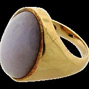 Large Vintage Cabochon Lavender Jade 14k Yellow Gold Mens Ring