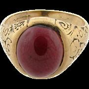 Antique Art Nouveau English Cabochon Garnet Floral Gold 375 Ring