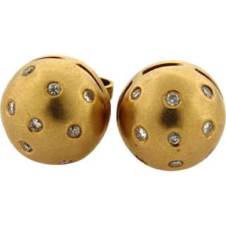 Vintage Italian Diamond 18k Brushed Yellow Gold Stud Earrings