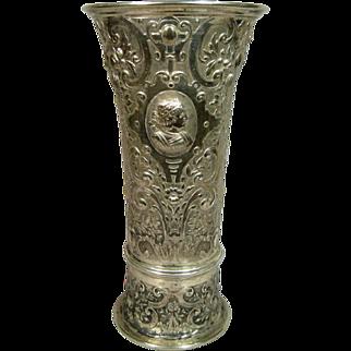 Stunning Large Antique Repousse Austrian Silver Figural Flower Vase