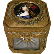 Antique French Bronze Glass Signed Enamel Woman Portrait Jewelry Box