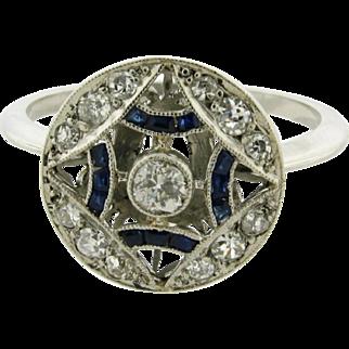 Original Art Deco Sapphire Diamond Platinum Circle Ring