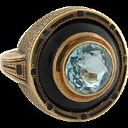 Antique Enamel Aqua Marine 14k Yellow Gold Ring