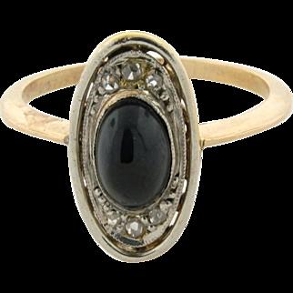 Original Art Deco Cabochon Sapphire Diamond 18k Yellow Gold Ring