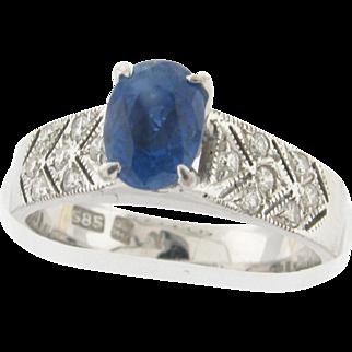 Vintage Ceylon Sapphire Diamond 14k White Gold Ring