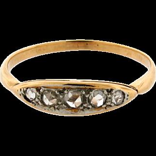 Original Art Deco Rose Cut Diamond 18k Yellow Gold Ring
