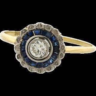 Original Art Deco Diamond Sapphire Platinum 18k Yellow Gold Ring