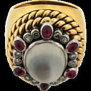 Retro Vintage Moonstone Ruby Diamond 18k Yellow Gold Ring