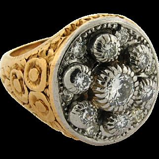 Antique Art Nouveau 7 Diamond Platinum 18k Yellow Gold Ring